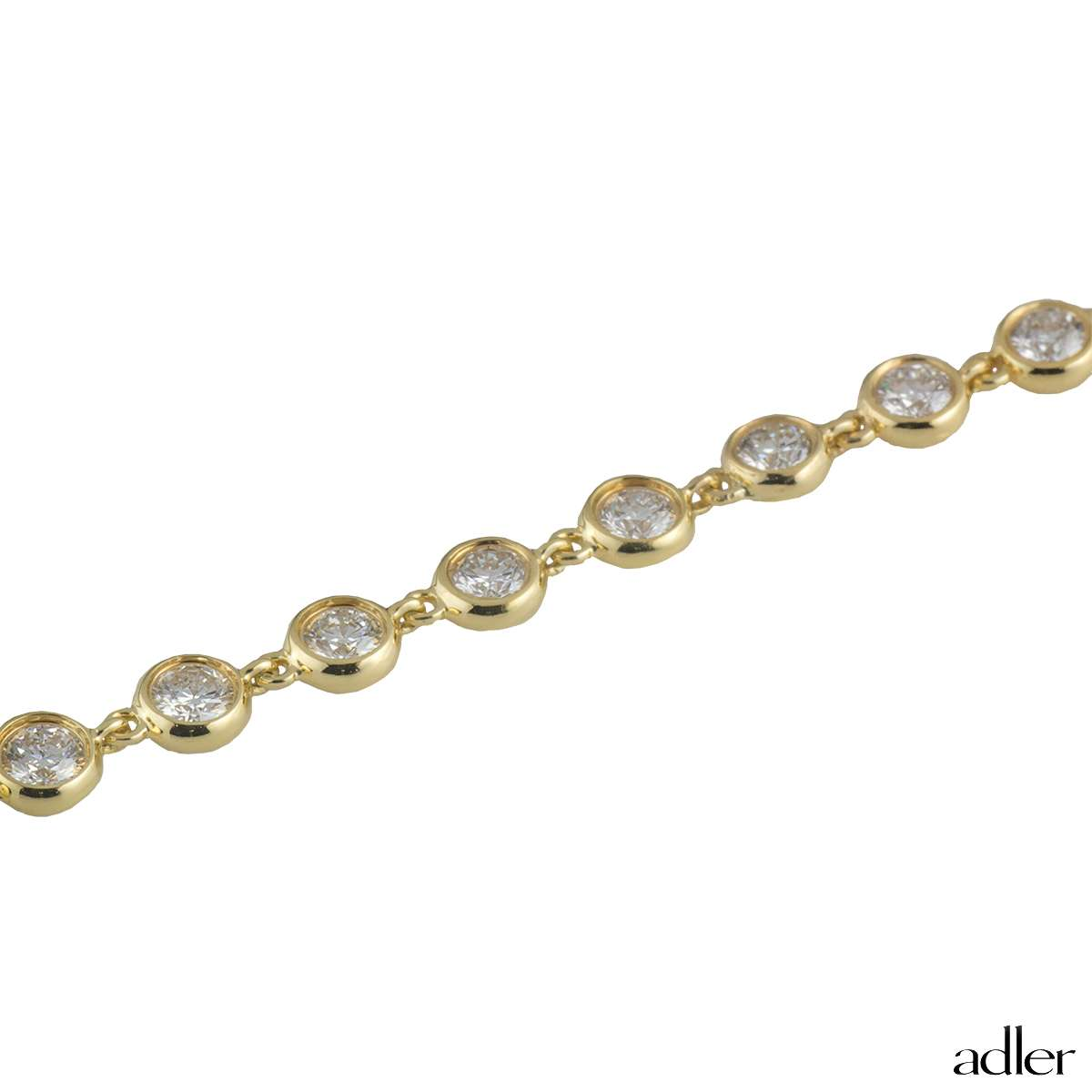 Adler 18k Yellow Gold Diamond Line Necklace 17.20ct